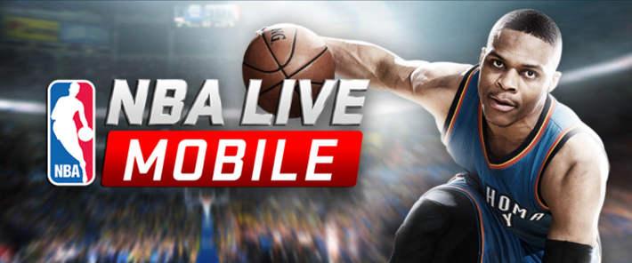 écran d'accueil du jeu NBA Live Mobile