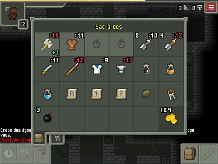Inventaire dans Pixel Dungeon