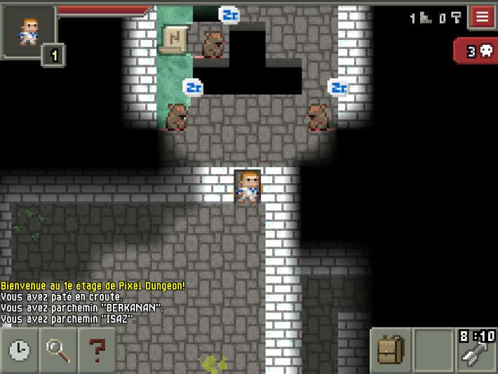 rencontre avec des rats dans Pixel dungeon