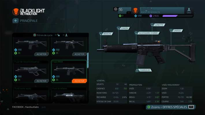 Choix des armes, Blacklight Retribution