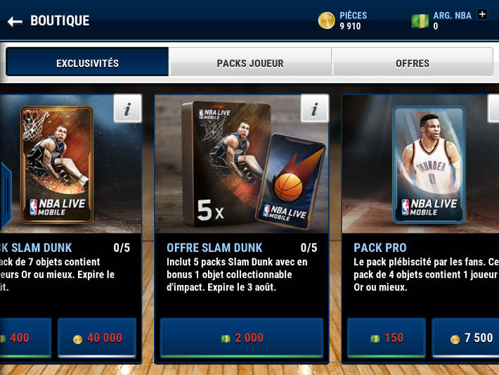 Boutique des Packs dans NBA Live Mobile