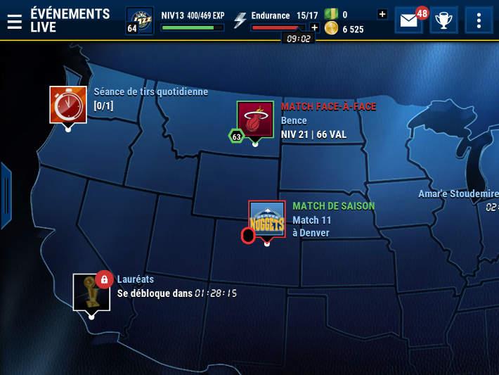 Liste des événements live dans NBA Live Mobile