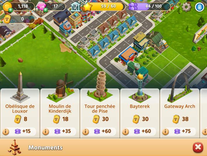 Construire des monuments dans Dream City: Metropolis