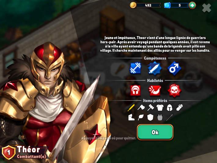 détails concernant le guerrier dans Shop Heroes