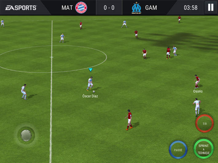 Exmeple de match sur FIFA Mobile Football