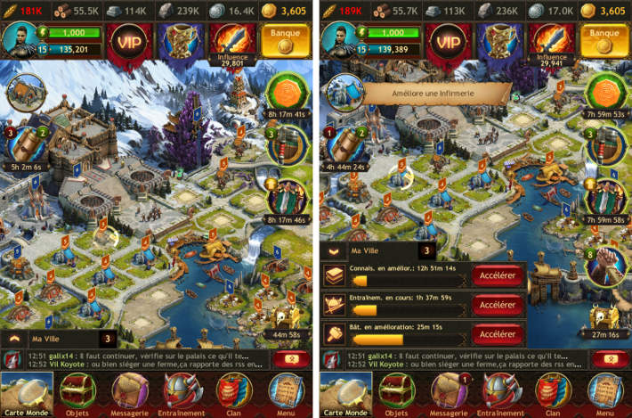 Ville et Interface dans Vikings: War of Clans