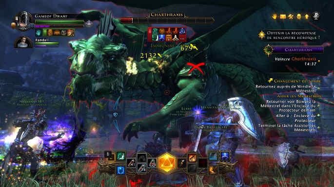 Combat contre Charthraxis le dragon