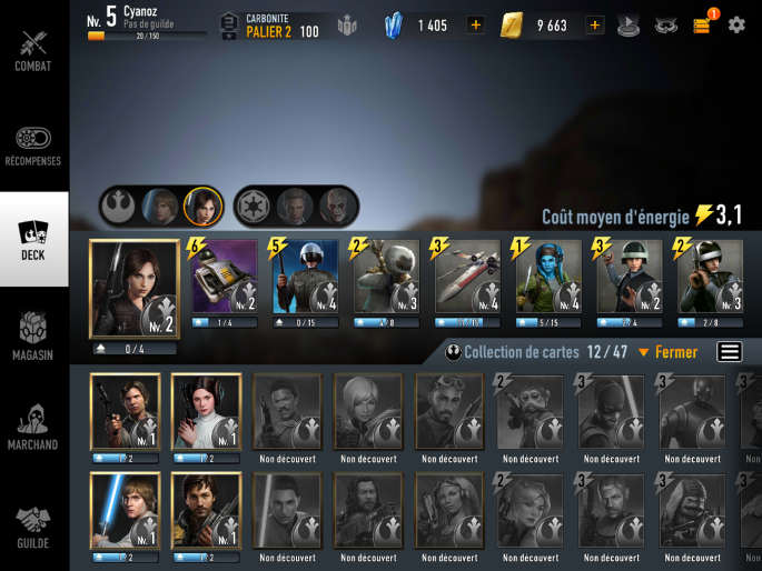deck rebelle dans Star Wars : Force Arena
