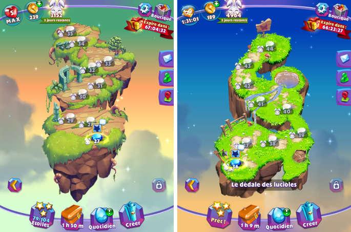 Map des différents niveaux de Bejeweled Stars