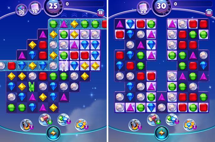 2 niveaux du jeu Bejeweled Stars