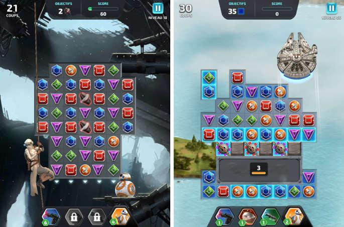 Exemple de niveaux dans Star Wars Puzzle Droids