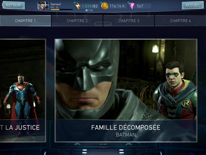 Mode histoire dans Injustice 2 sur mobile