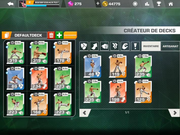 Création de deck pour chaque combattant