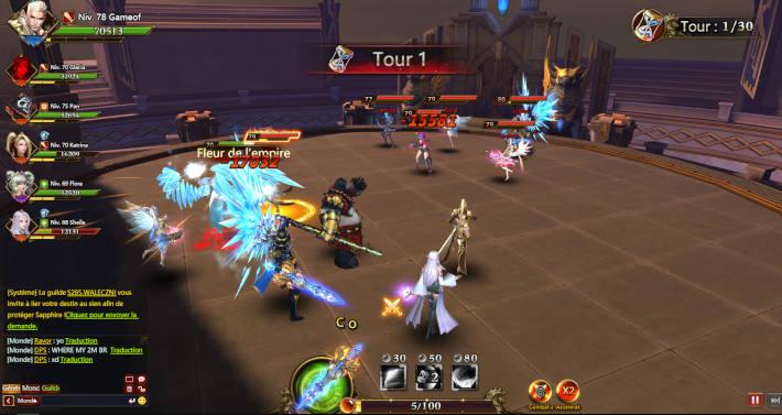 Combat en arène dans League of Angels 3