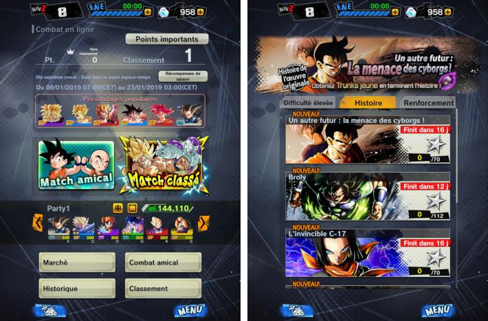 PvP et mode événements dans DB Legends