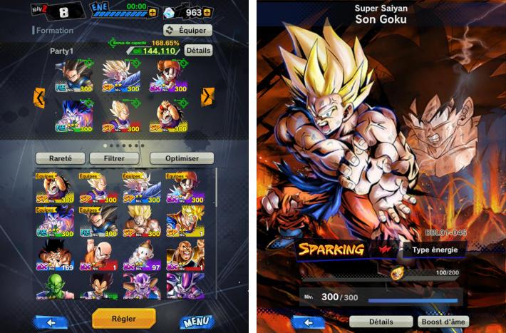 Liste des personnages et création d'équipes