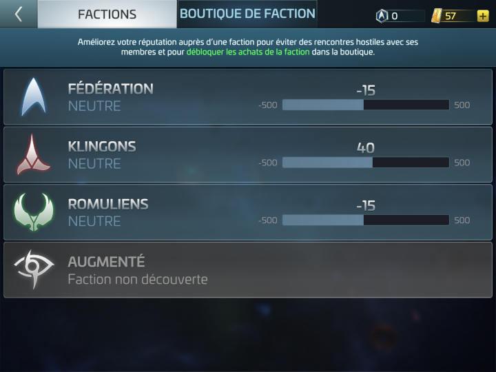 relations avec factions : Fédération, Klingons, Romuliens