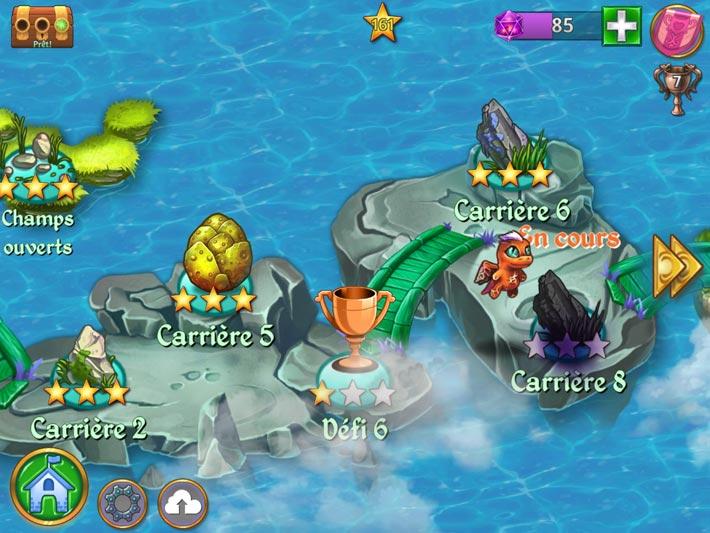 La carte des différents niveaux dans Merge Dragons!