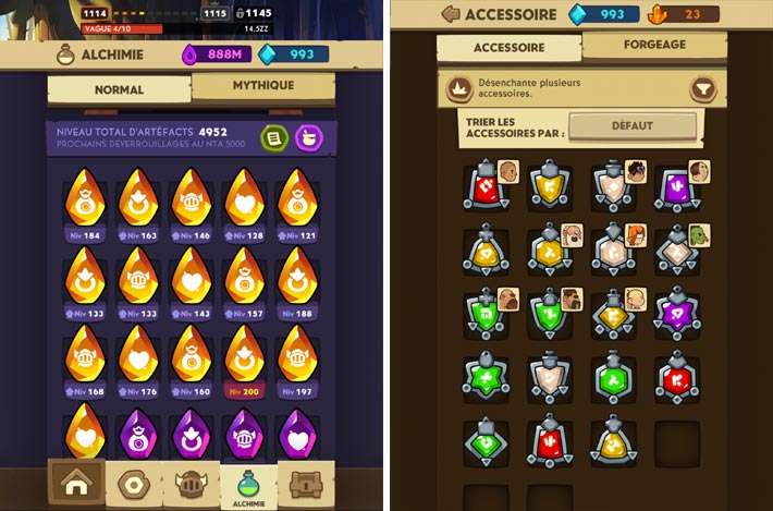 Almost a Hero - Idle RPG Clicker, les artefacts