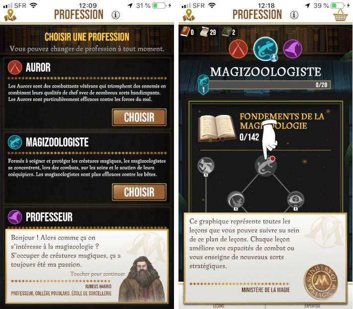 Professions dans Harry Potter Wizards unite