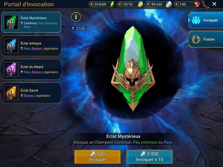 Raid Shadow Legends, les éclats mystérieux invoquent des champions