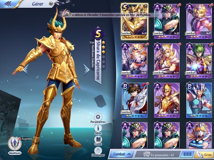 Saint Seiya Awakening: Knights of the Zodiac, collection