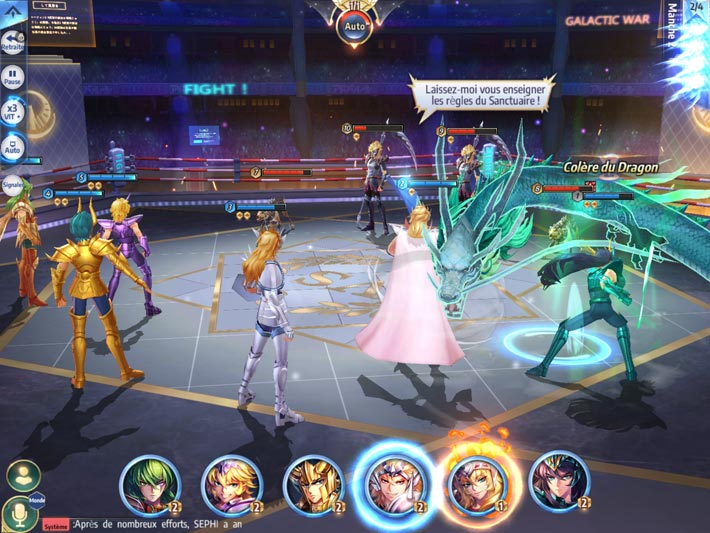 Saint Seiya Awakening: Knights of the Zodiac, combats