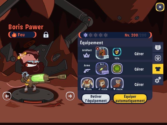 Les héros et leurs équipement