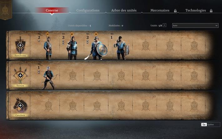 Conqueror's blade, gestion des unités