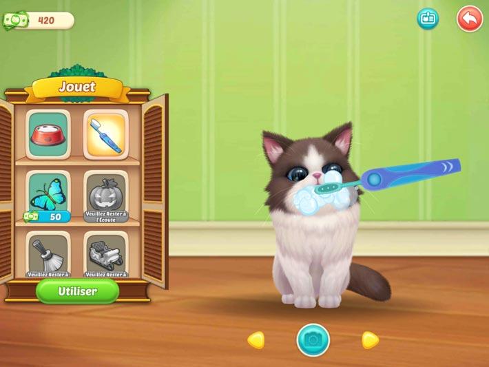 Kitten Match, achetez des jouets et soignez vos chatons