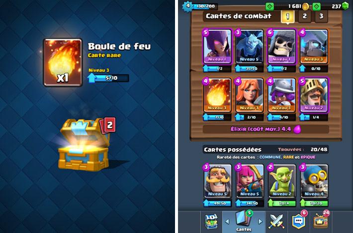Coffres et cartes dans Clash Royale