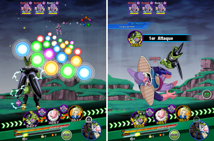 Exemple de combat dans Dragon Ball Z: Dokkan Battle