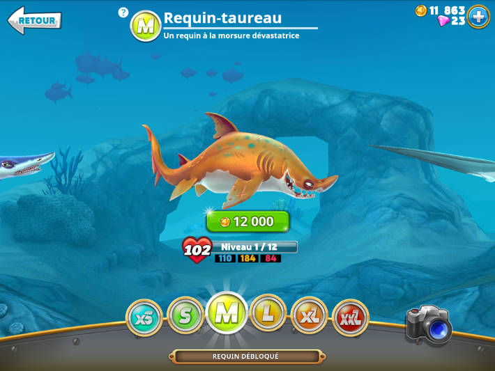 Requin taille M dans Hungry Shark World