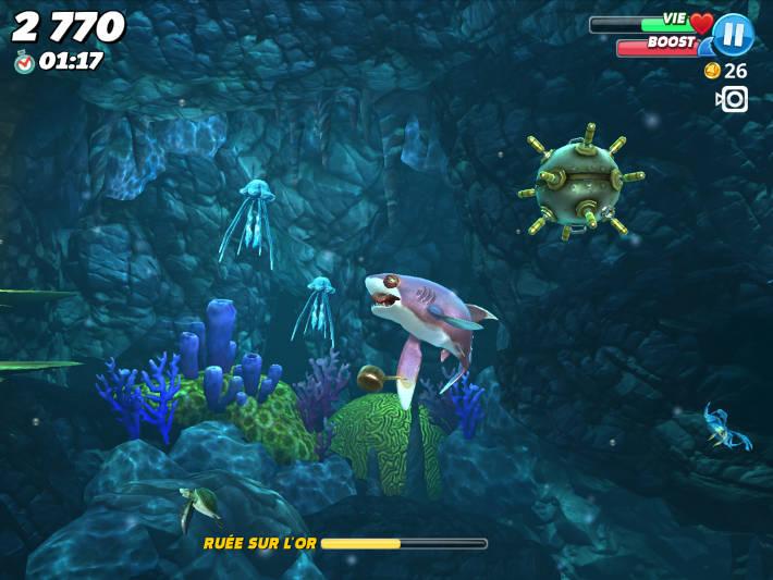 Les mines et méduses dans Hungry Shark World