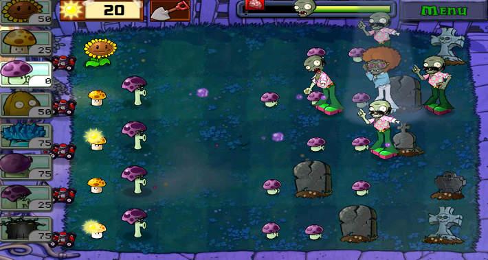 La nuit : Plantes contre zombies